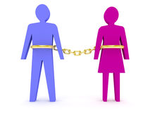 Man and woman linked by golden chain. Stock Photography
