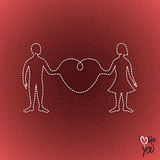 Man and woman linked organically through a big heart Royalty Free Stock Photo
