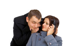 Man and woman listen music stock image