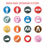 Man and woman long shadow icons Stock Photography