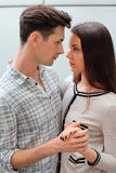 Man and woman look at each other Royalty Free Stock Photo