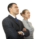 Man and woman looking in one direction. Royalty Free Stock Images