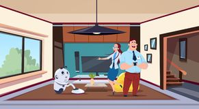 Man And Woman Looking At Robot Housekeeper Cleaning Living Room. Flat Vector Illustration Stock Photography
