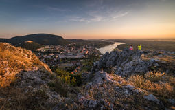 Man and Woman Looking at View of Small City with River from the Royalty Free Stock Photos