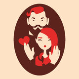 Man and woman in love. Couple in love, boyfriend and girlfriend hugging vector illustration stock illustration