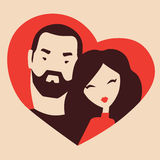 Man and woman in love. Couple in love, boyfriend and girlfriend hugging in a heart frame vector illustration Stock Image