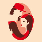 Man and woman in love. Couple in love, boyfriend and girlfriend hugging vector illustration royalty free illustration