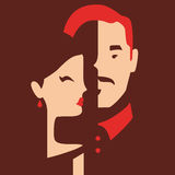 Man and woman in love. Couple in love, boyfriend and girlfriend in love vector illustration Royalty Free Stock Image