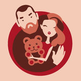 Man and woman in love. Girlfriend holds teddy bear present from boyfriend vector illustration vector illustration