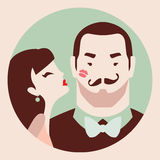 Man and woman in love. Couple in love, woman kisses man in cheek vector illustration stock illustration