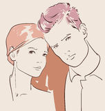 Man and woman in love. Couple in love, man and woman hugging vector illustration vector illustration