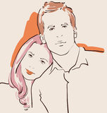 Man and woman in love. Couple in love, man and woman hugging vector illustration Stock Images