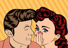 Man and woman love couple in pop art comic style Royalty Free Stock Photography