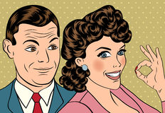 Man and woman love couple in pop art comic style Stock Image