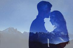 Man and woman love, double exposure of couple stock photography