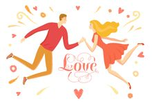 Man and woman in love flying Royalty Free Stock Photo