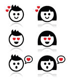 Man and woman in love icons set Royalty Free Stock Photo