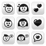 Man and woman in love, Valentine's buttons set Stock Image