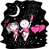 Man and woman in love walking at night on stellar road Royalty Free Stock Images