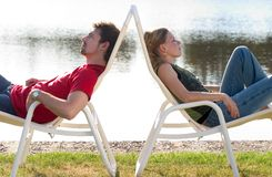 Man and woman lying. Royalty Free Stock Photos