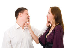 Man and woman make hush sight with finger Royalty Free Stock Photo