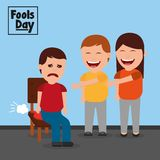 Man and woman make joke a friend with cushion fools day. Vector illustration Stock Photos