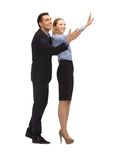 Man and woman making a greeting gesture Royalty Free Stock Images