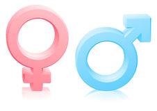 Man woman male female gender signs. Man and woman, male and female gender sexes signs or symbols in pink and blue Stock Photos