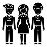 Man woman man icon, vector illustration, black sign on isolated background Stock Photos