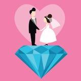 Man woman married wedding bride cartoon with blue diamond love flat illustration couple Royalty Free Stock Photo