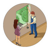 Man and woman measure window Royalty Free Stock Images