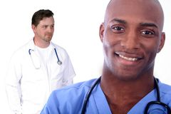 Man and Woman Medical Field. African American Man and Woman Medical Workers stock photos