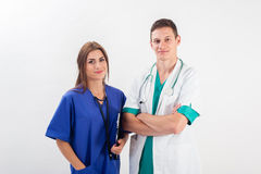Man and woman in medical uniform Stock Images
