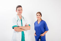 Man and woman in medical uniform Royalty Free Stock Images