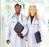 Man and Woman Medical Workers Stock Photo