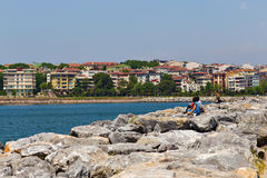 Man and woman on the Mediterranean coast   Stock Photography