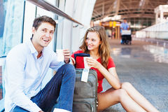 Man and woman met at airport stock photography