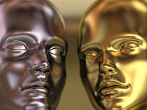 Man and woman metal portrait. Very high resolution 3d rendering of a golden woman and a silver man head Royalty Free Stock Photos