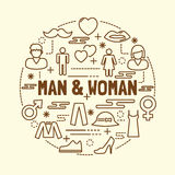 Man and woman minimal thin line icons set Stock Photos