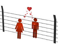 Man and woman missing. Together apart by thorny wire Royalty Free Stock Images