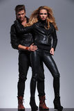 Man and woman models in leather clothes Stock Image