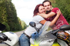 Man and woman on motorcycles Royalty Free Stock Photo