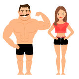 Man and woman muscular couple Royalty Free Stock Photo