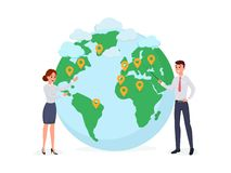 Man and woman near globe symbol vector illustration