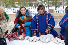 Man and woman in the Nenets national costumes Stock Photography