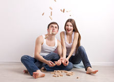 Man and woman in new apartment Royalty Free Stock Image