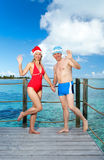 The man and the woman in New Year s suits Stock Photography