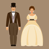 Man and woman of the nineteenth century Royalty Free Stock Photo