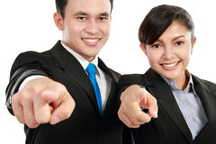 Man and woman office worker pointing Royalty Free Stock Photos