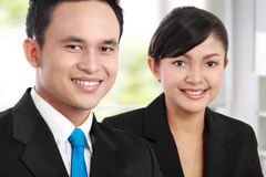 Man and woman office worker smiling Royalty Free Stock Photography